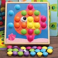 Ahşap 3D Bulmacalar Sanat Eğitici Oyuncaklar Çocuk 46 Düğmeler Için 10 Resimler Montessori Materyalleri oyuncak brinquedos Öğretim Yardımcıları