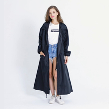 Women's Black Brand New Stylish Long Rain Poncho Waterproof Raincoat With Hood