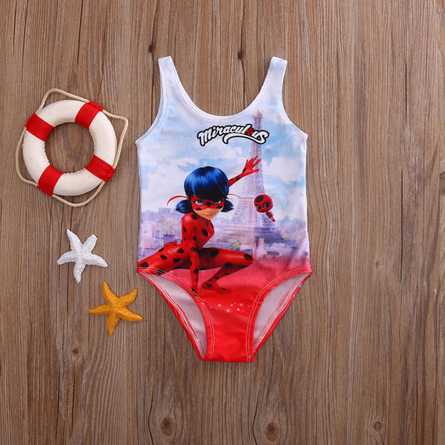 Hot Sale One Piece Swimsuit Miraculous Ladybug Girls Swimming