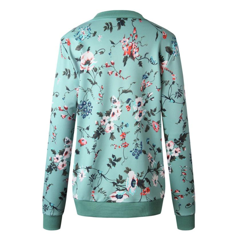 Outerwear & Coats Jackets Womens Ladies Retro Floral Zipper Up Bomber Outwear Casual coats and jackets women 18AUG10 20