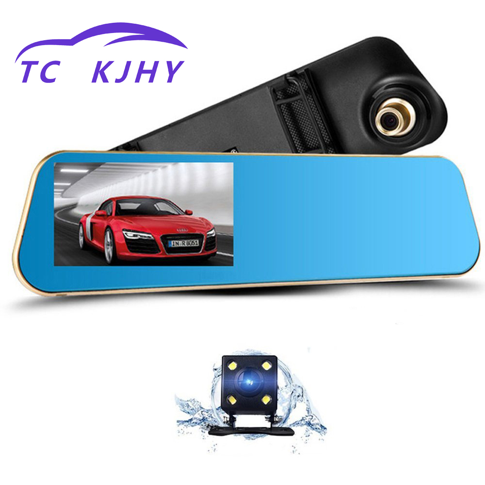 2018 Auto 4.3 Inch Dash Cam Car Dvr Camera Full HD 1080P Automatic Camera Rear View Mirror with Dual Lens DVR Camera Recorder