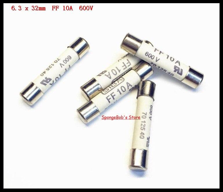 5-15 pcs/Lot 6.3x32mm FF 10A 600 V SIBA fusible en céramique fusible Miniature 70 125 40