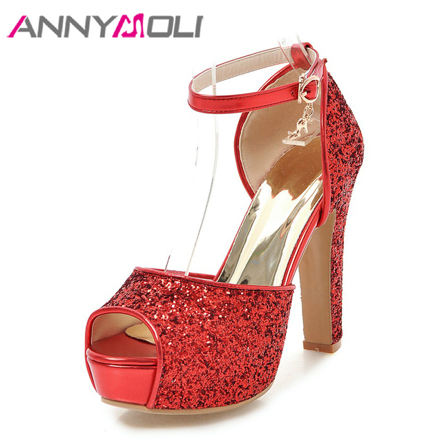 3d81b895a7 US $30.75 50% OFF|ANNYMOLI Women Sandals Platform High Heels Bridal Shoes  Buckle Ankle Strap Open Toe Shoes Glitter Thick Heels 2018 New Size 43-in  ...