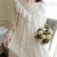 Princess Sweet Lolita Court Style Nightgowns Sleepshirts Retro Hollow Lace Crochet Home Wear Suit QQ051