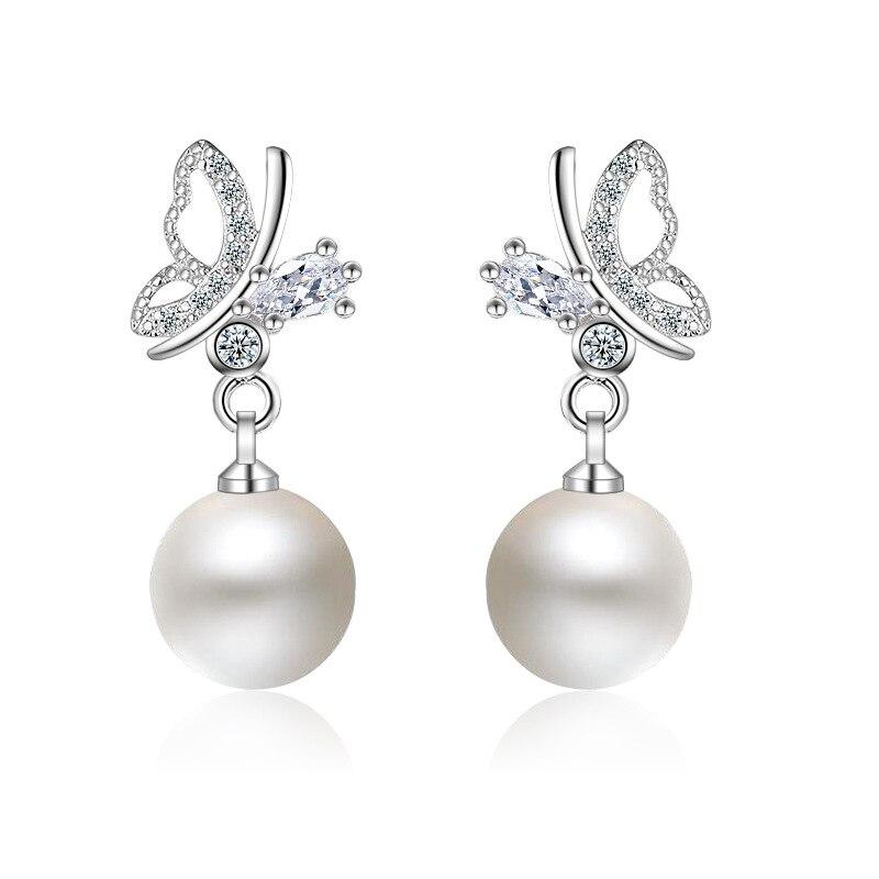 New Brand Beautiful Butterfly Imitation Pearl Earring Silver Plated Elements Austrian Crystal Enamel Women Earrings
