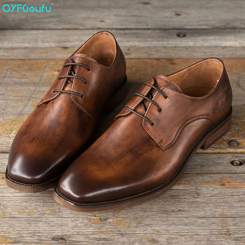 QYFCIOUFU New 2019 Mens Genuine Leather Shoes Vintage Mens Dress Shoes Business Wedding Shoes Oxfords Lace Up Square Toe FlatsQYFCIOUFU New 2019 Mens Genuine Leather Shoes Vintage Mens Dress Shoes Business Wedding Shoes Oxfords Lace Up Square Toe Flats