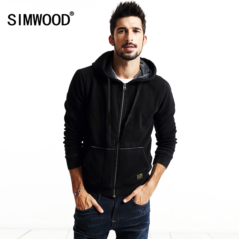 SIMWOOD 2017 new autumn winter new men zipper  coats jacket Sweatshirts  cardigan hoodies cotton WY8016