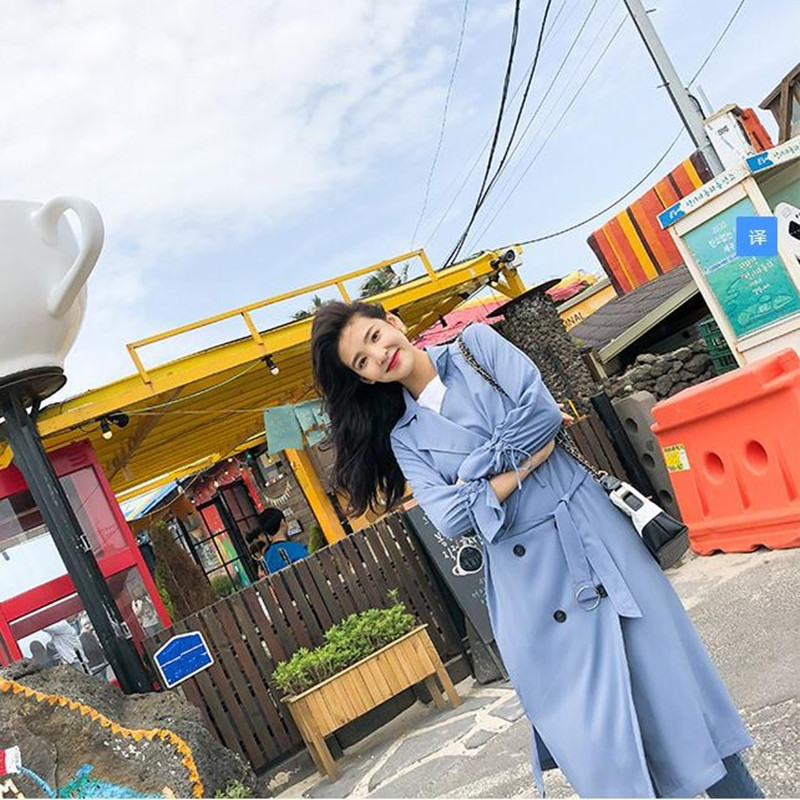 Temperament Windswear Medium And Long-Style New Loose Knee Windswear Coat Thin