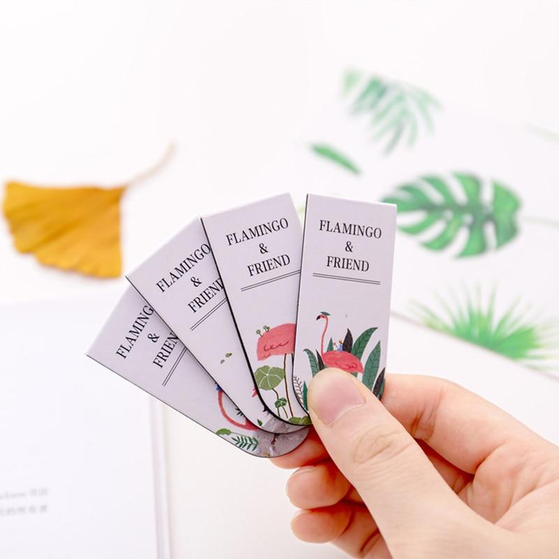 Купить с кэшбэком 8 pcs Elegant flamingo magnetic bookmark for book marker Page holder Kawaii Stationery Office School supplies FC516