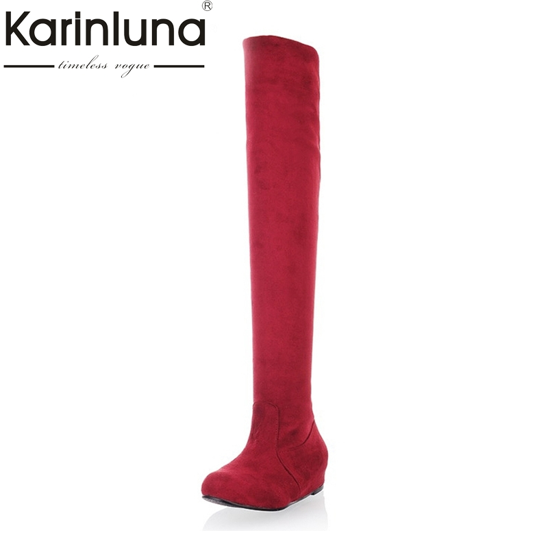 Big size 34-43 Fashion Women Over The Knee Boots Hidden Wedges Spring Autumn Casual Dress Shoes Round Toe Platform Knight Boots vamolasc new women autumn winter leather over the knee boots wedges high heel knight boots platform women shoes plus size 34 43