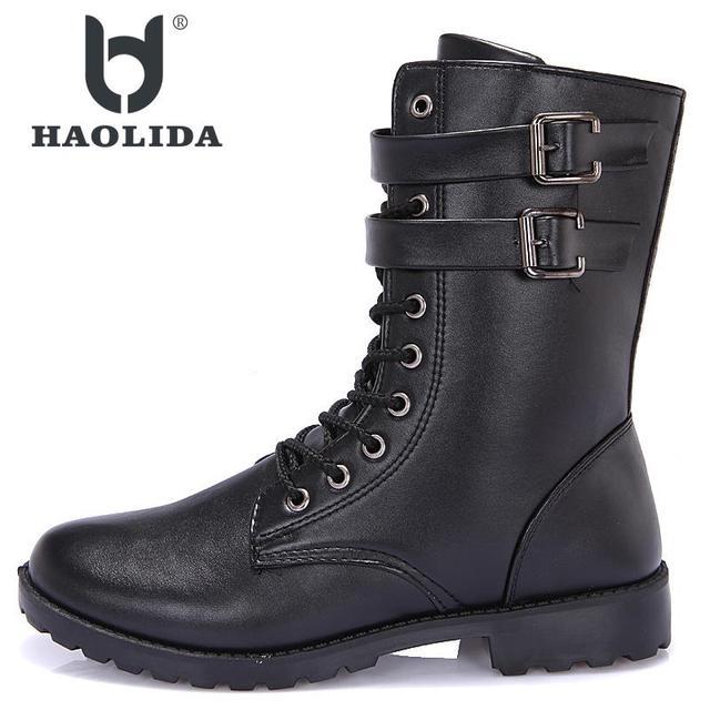 新冬 2018 ファッションノンスリップ高ギャングマーティン靴高品質ソフトで快適な平底ミドルチューブブーツ