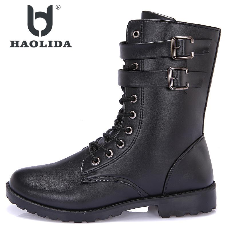 New Winter 2018 Fashion Non-slip High Gang Martin Shoes High Quality Soft And Comfortable Flat Bottom Middle Tube Boots
