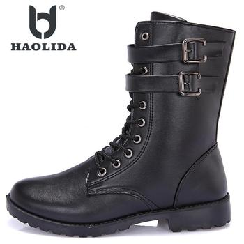 Nuevo invierno 2018 moda antideslizante High Gang Martin zapatos de alta calidad suave y cómoda suela plana botas de tubo medio