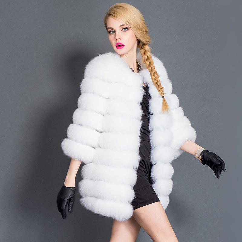 80cm Length Luxury Real Natural Fox Fur Coat Jacket Women Winter Warm Medium Long Outwear Genuine Overcoat Parka - Fashion store