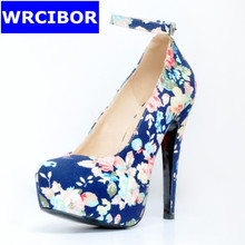 WRCIBOR 2017 Women Shoes PU leather platform pointed toe High heels Lady fashion Print flower Sexy Thin Heels Ankle Strap Pumps
