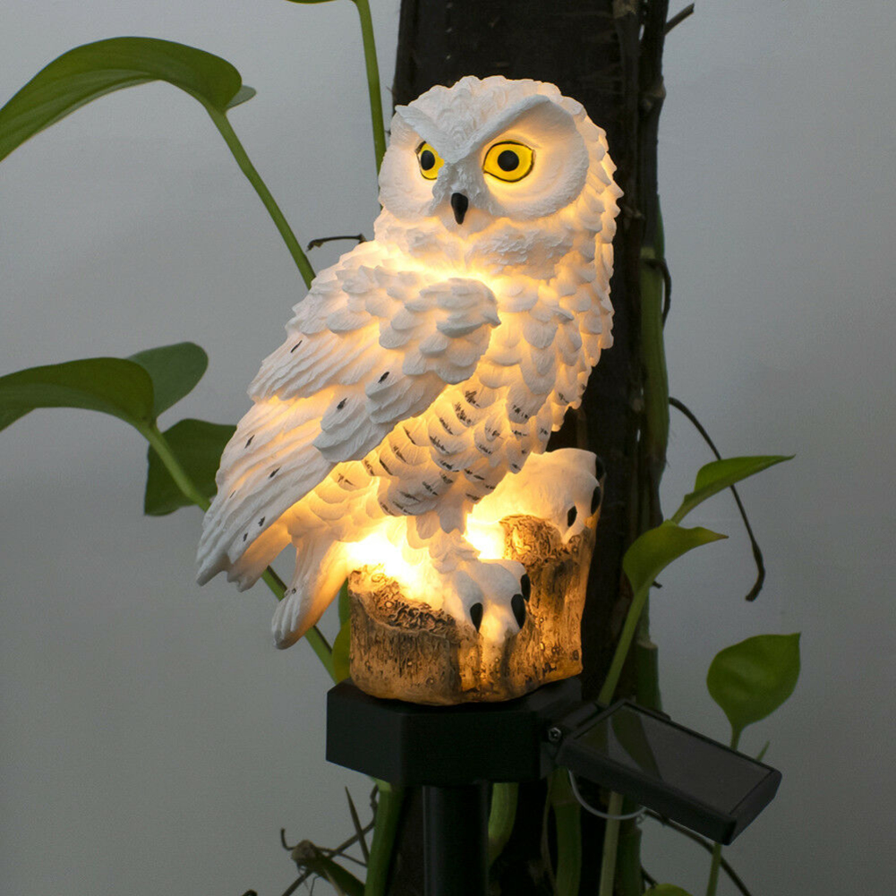 Owl Sculptures Shape Solar-Powered Waterproof Lamp For Outdoor Yard Garden Lighting Decoration Bird Resin Gardening Decor
