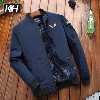 KH New Men's Fashion Autumn and Winter Thicker Warm Jacket coat Men Military Coat Flight Bomber Jacket Stand collar Outerwear фото