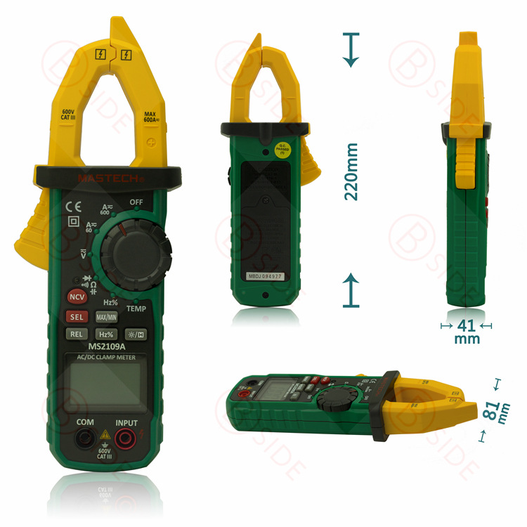 Mastech MS2109A Auto Range Digital AC DC Clamp Meter 600A Multimeter Volt Amp Ohm HZ Temp Capacitance Tester NCV Test mastech ms2109a auto range digital ac dc clamp meter 600a multimeter volt amp ohm hz temp capacitance tester ncv test