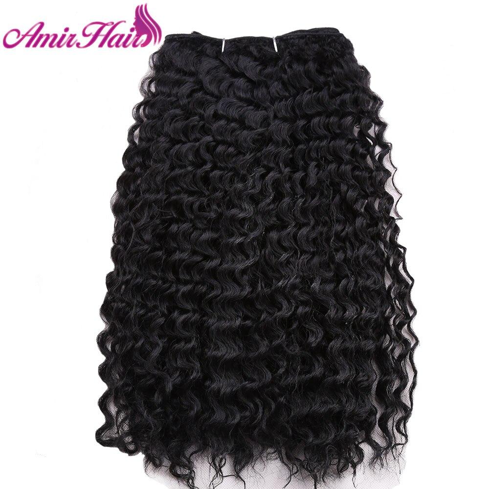 Амир 3 пучки ткачество для черный Для женщин глубокая волна синтетических утка 16 шить в Химическое наращивание волос чёрный; коричневый Цве...