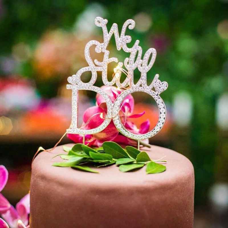 1st Wedding Anniversary Decoration Ideas At Home: Heart We Still Do Cake Topper For 10th 25th 30th 40th 50th