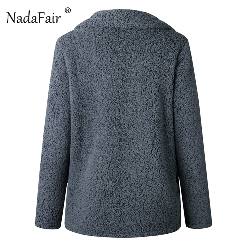Nadafair plus size fleece faux fur jacket coat women winter pockets thicken teddy coat female plush overcoat casual outerwear 35