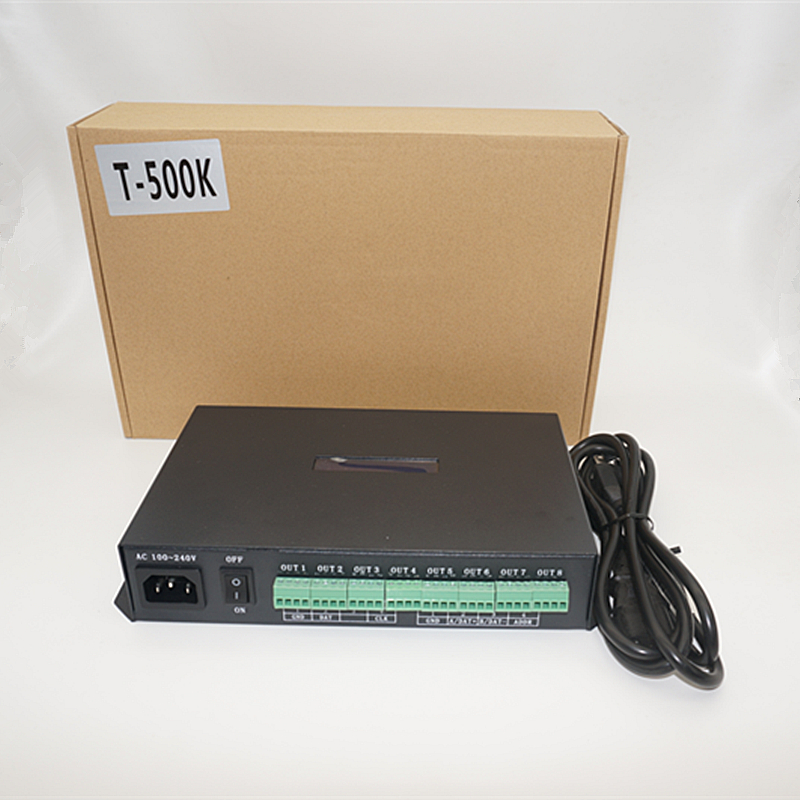 T500K controller Computer online RGB Full color led pixel module controller 8ports support up to 300000 pixels ws2801 ws2812b t 500k controller computer online ws2801 ws2811 6812 8806 apa102 led pixel module controller 8ports support up to 300000 pixels