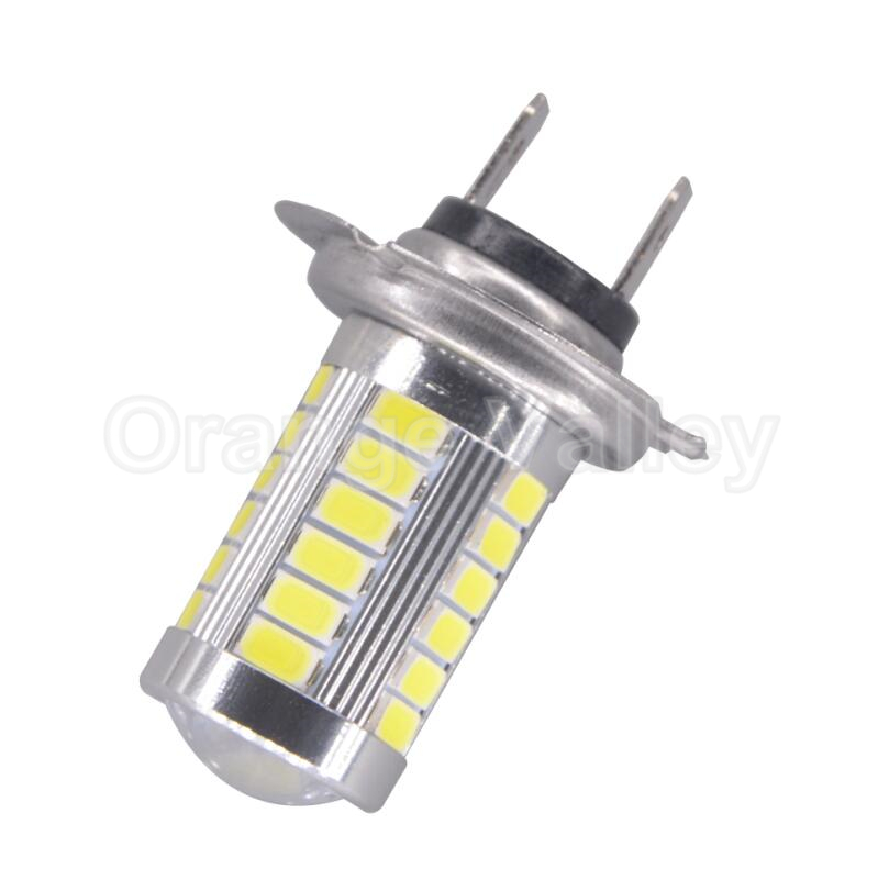 10Pcs High Quality H7 33 LED 5630 SMD 5730 White Car Auto Lens Fog Light light Driving Lamp Bulb DC12V White Yellow Red Blue