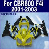 ABS plastics road fairings set for Honda CBR 600 F4i 01 02 03 cbr 600 f4i 2001 2002 2003 yellow black race bodywork fairing kit