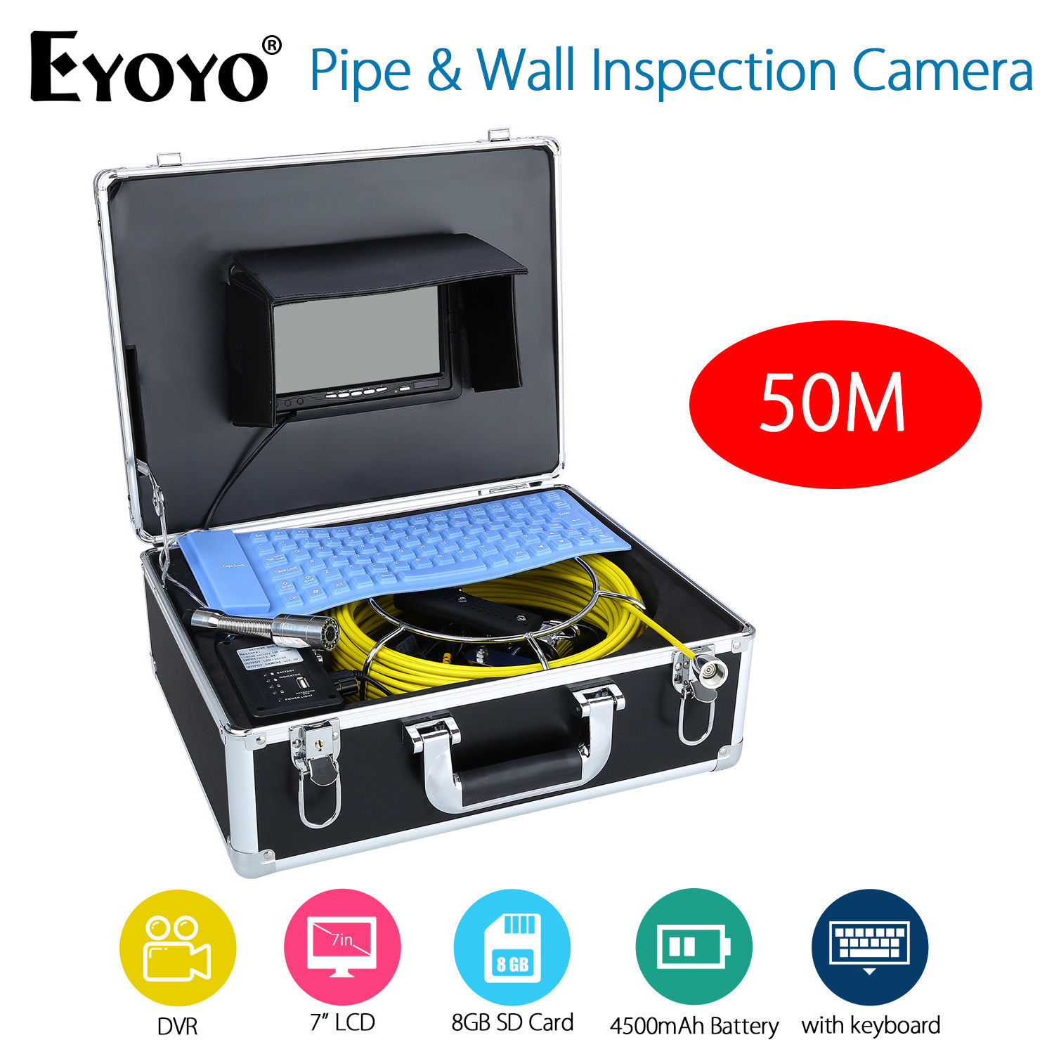 Eyoyo 50M 7 LCD DVR HD 1000TVL Pipe Wall Inspection Camera Endoscope Snake Sewer Drain Cam Video Recording w/Portable Keyboard drain sewer wall cave pipe inspection dvr camera pipe endoscope borescope 20m 50m cable pipeline sewage snake camera