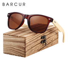 BARCUR Bamboo Sunglasses Men Women Travel Sun Glasses Vintage Wooden Leg Eyeglasses Fashion Sunglasses Male