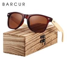BARCUR gafas de sol de bambú, gafas de las mujeres de los hombres de gafas de sol de madera Vintage pierna gafas de sol de Moda hombre