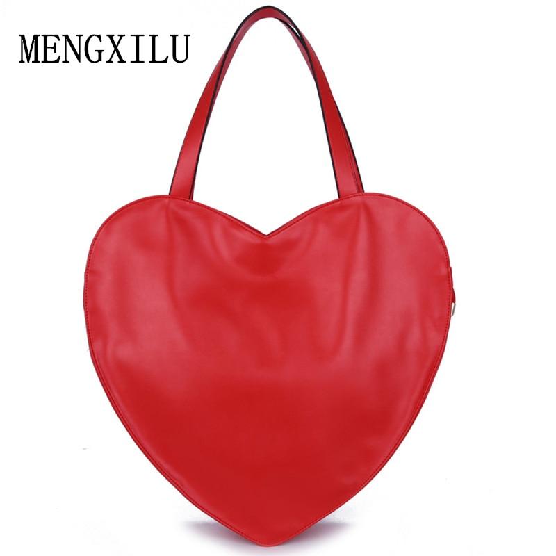 Caliente Rojo en Forma de Corazón de Las Mujeres Bolso de Mano de Cuero PU de LA