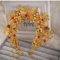 HIMSTORY lujo chino Vintage oro tocado de novia, cuentas hechas a mano Faux perla accesorio para el cabello de la boda
