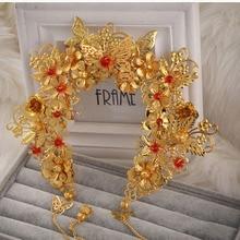 Luxury Chinese Vintage Gold Bridal Headwear,Handmade Beads Faux Pearl Wedding hair Accessory