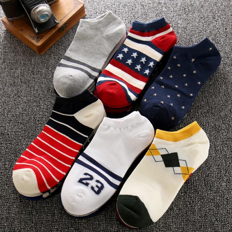 Summer Fashion Cotton Boat Socks For Men Ankle Socks Low Socks Male Sock Slippers 5pairs/lot