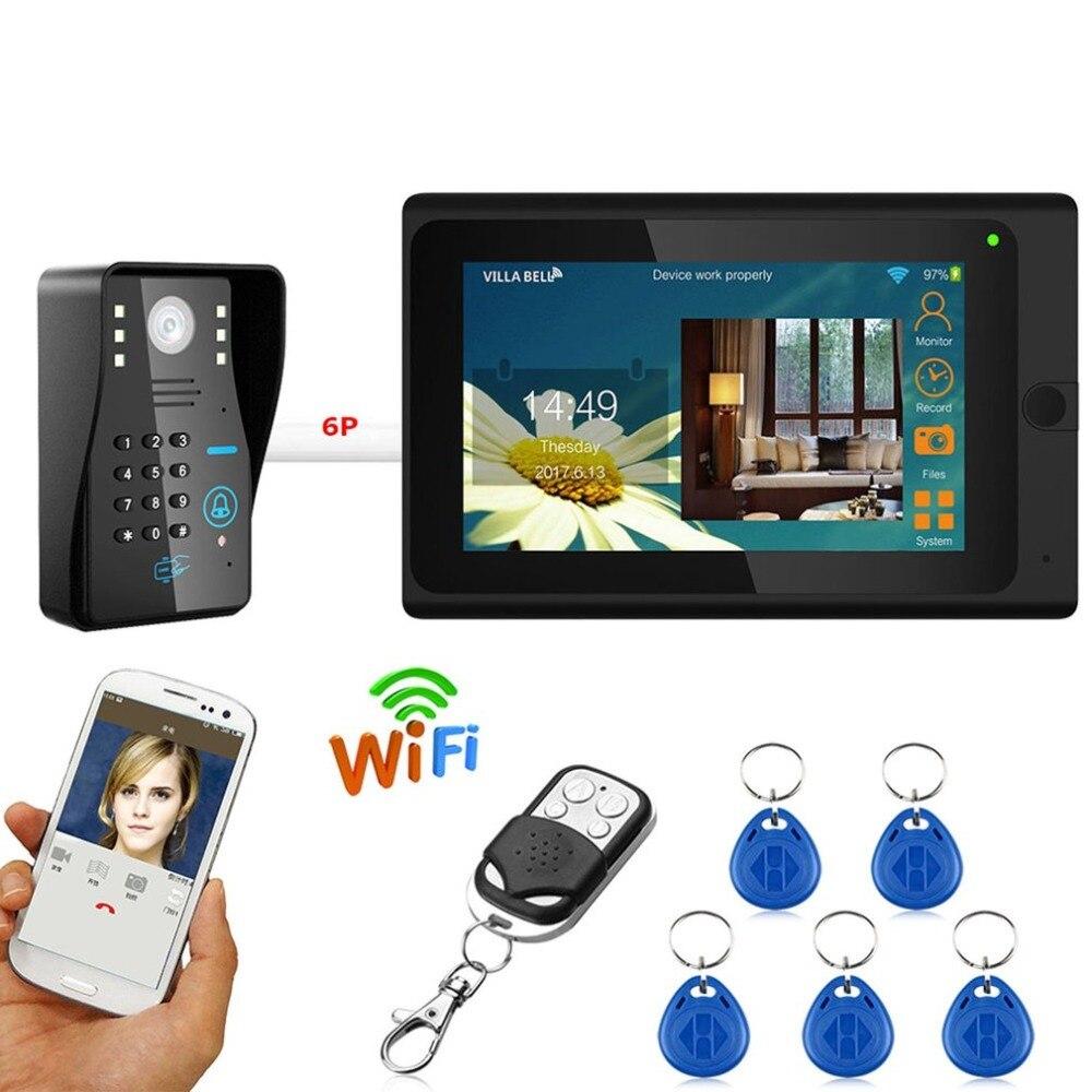 LESHP 7 pouces Filaire Wifi RFID Mot de Passe Vidéo Porte Téléphone interphone sonnette Système D'entrée Caméra vision nocturne À Distance APP Déverrouillage