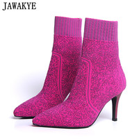 JAWAKYE designer Wool Knitted Booties feminina high heels Ankle Boots for women rose khaki elastic spring Fall sexy sock shoes