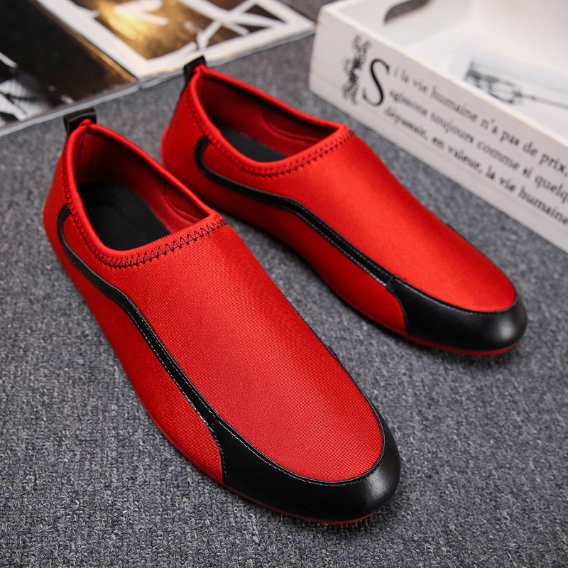 Autumn Summer Men' Flats Fashion 2019 Breathable Loafers White Black Red Casual Shoes Size 39-44 Comfortable Driving Shoes Man