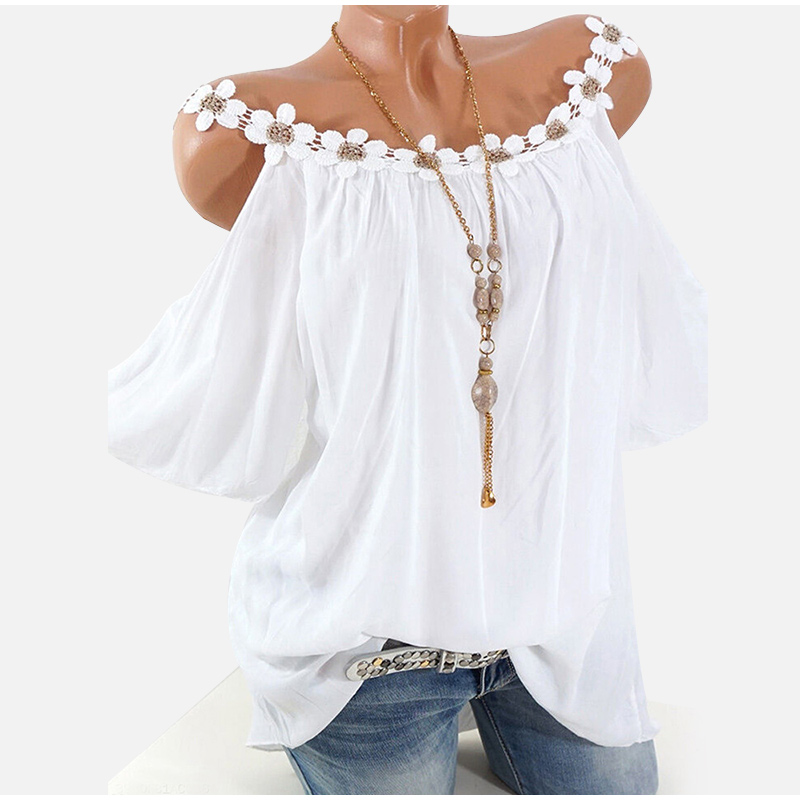 Plus Size Women's Lace Blouse Top Off Shoulder White Pink O-neck Short Sleeve Female Blouses 2020 Summer Loose Shirts Tops Woman