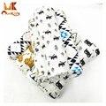 MK 2017 Bebê Cobertores De Musselina Swaddle Cobertor Do Bebê Dos Desenhos Animados Impresso Algodão Macio Respirável Para Adereços Fotografia de Recém-nascidos Cesta