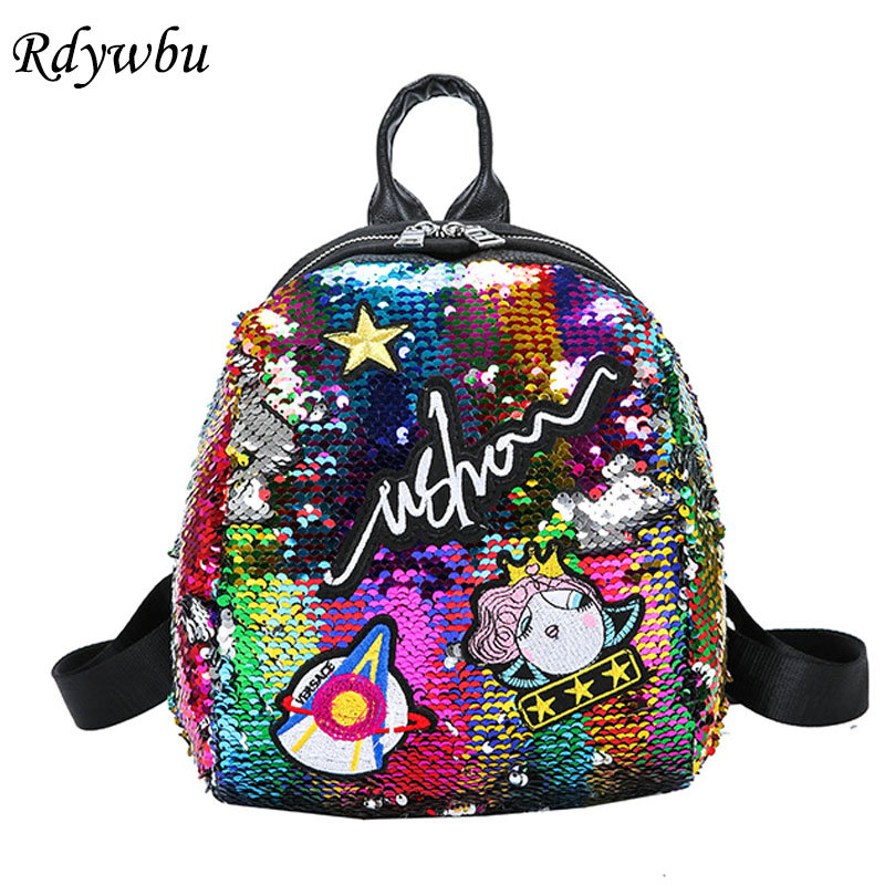 Rdywbu Glitter Sequined Mini Backpack Women Cute Embroidery Bling Travel Bag  Girl Cartoon Small Shiny Paillette School Bag B674 bf5c4cf4eab6