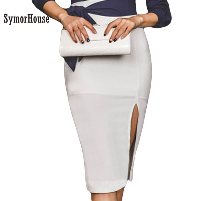 f57f193372 2018 New Sexy High waist Pencil Skirt women White Knee-Length Bandage Bodycon  Skirts Wear To Work Wholesale Step skirts female