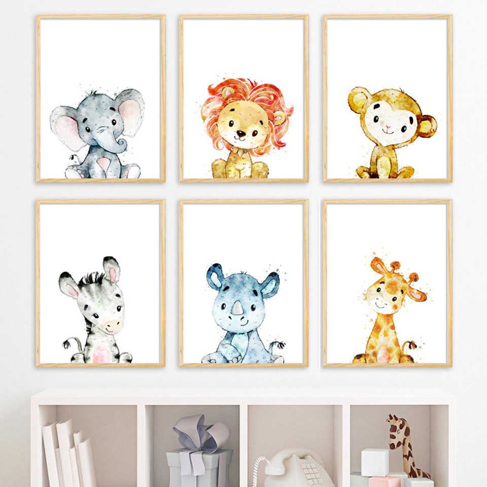 Wall Art Canvas Paintings Cartoon Lion Giraffe Zebra Elephant Nordic Posters Pictures Prints Home Modular For Kids Room Decor in Painting Calligraphy from Home Garden