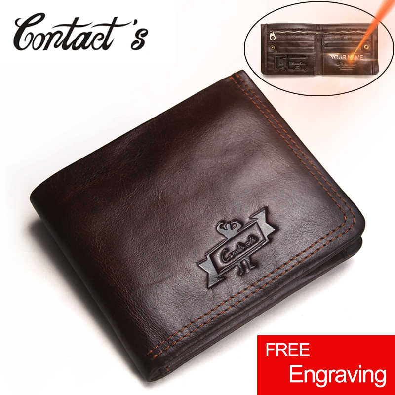Contact's Genuine Leather Wallet Men Vintage Brand Money Bag Zip Coin Purse Wallets Bifold High Quality Card Holder Dollar Price