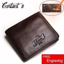 Kontakt z prawdziwej skóry portfel mężczyźni Vintage marka portfel portmonetka zapinana na zamek portfele Bifold wysokiej jakości posiadacz karty cena dolara