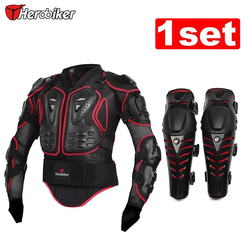 HEROBIKER Unisex Motorcycle Racing Armor Protector Motocross Off-Road Body Protection Jacket +red Motorcycle Knee Protector herobiker black motorcycle racing body armor protective jacket gears short pants motorcycle knee protector moto gloves