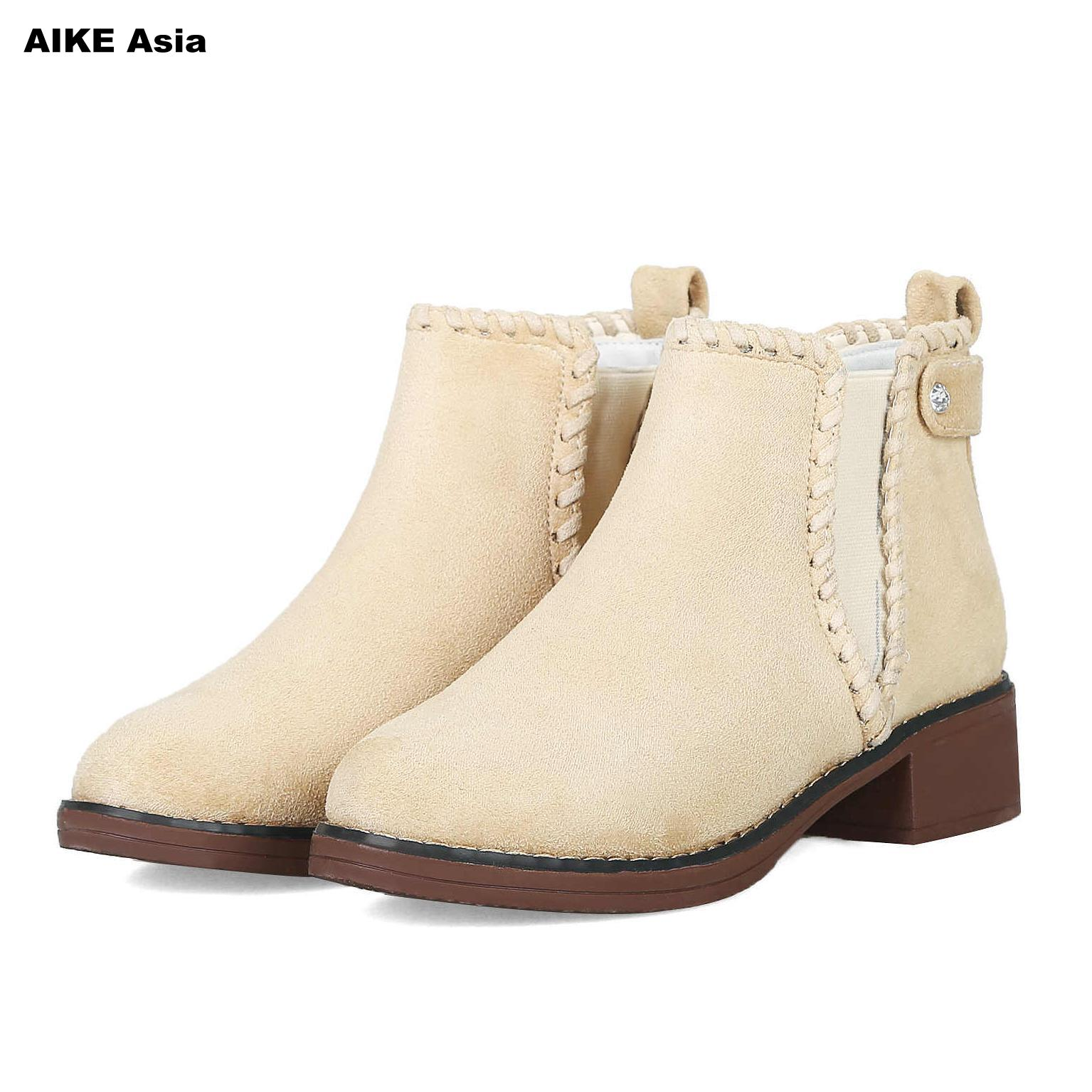 Women Martin Boots Suede Autumn Winter Warm Shoes Woman font b Feminina b font Female Motorcycle