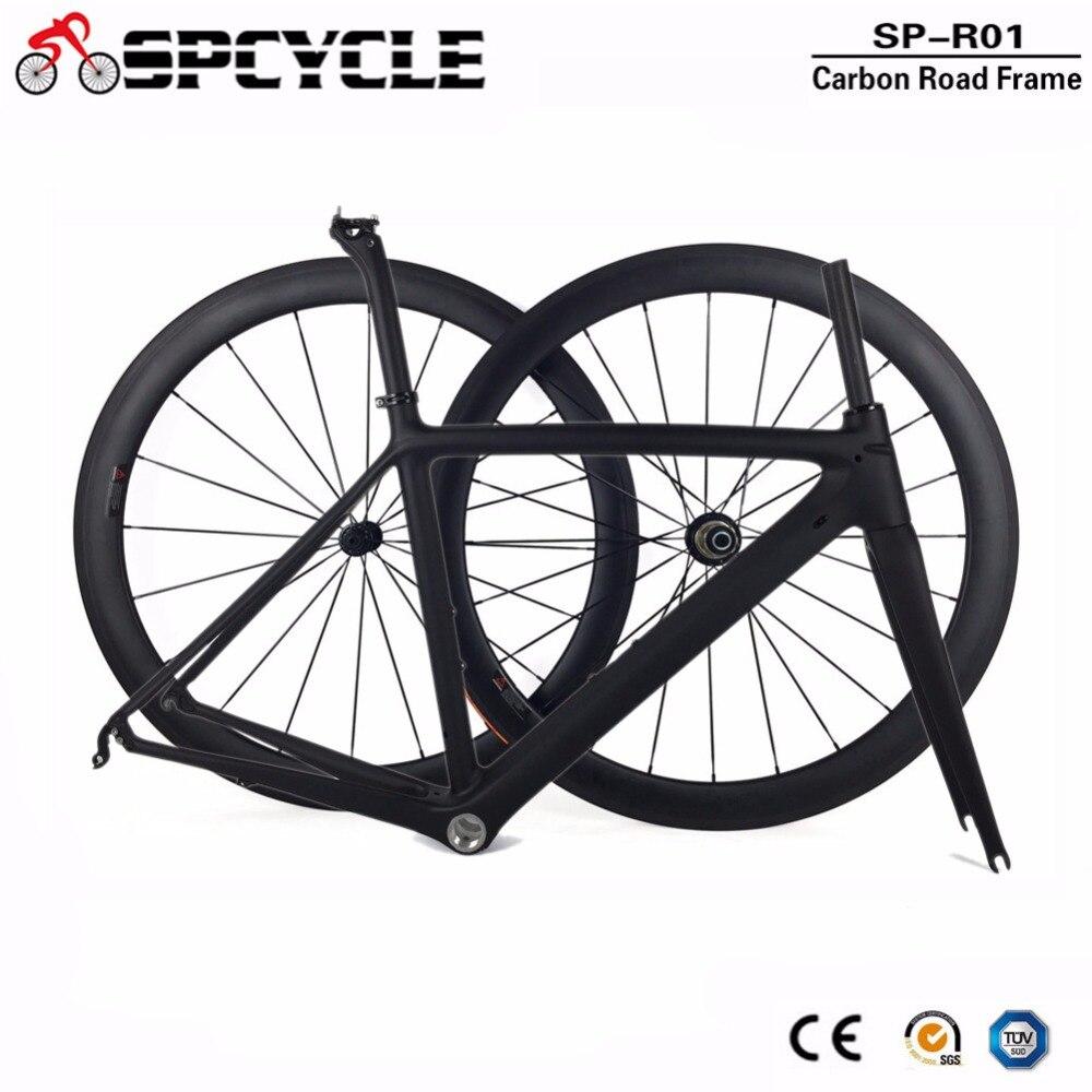 2019 New Carbon Fiber Road Bicycle Frames Wheels,Racing Road Carbon Bike Frames 50mm Road Bike Wheelsets Framesets 1 Sets