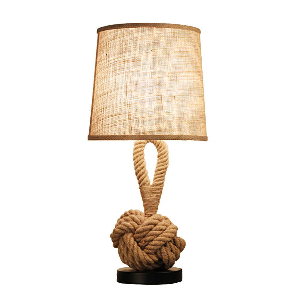 Creative Hemp Rope LED Table Lamp with Vintage American Style Coffee Shop Study Decor Desk Lamp
