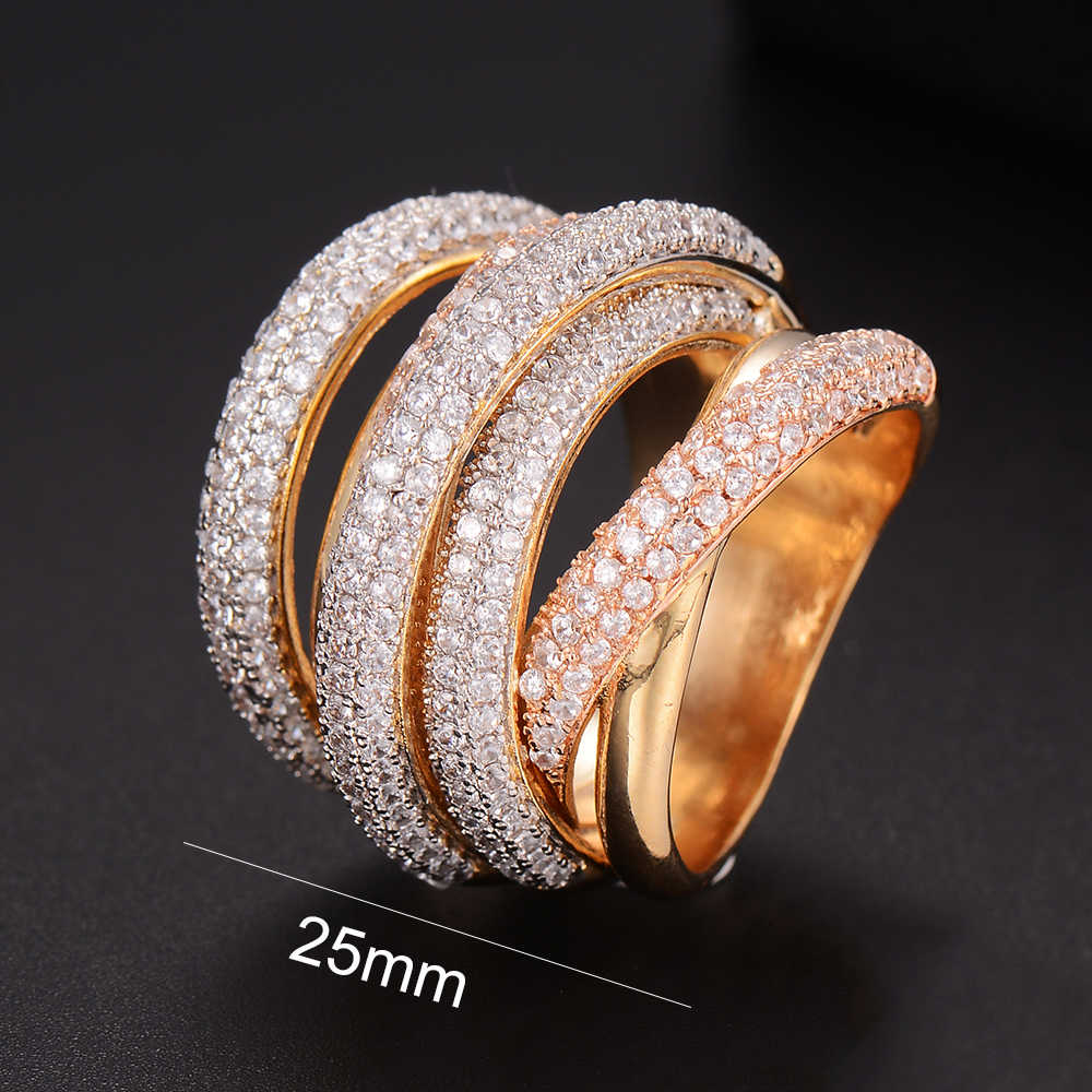 GODKI MONACO Designer Luxury Twist เส้นเรขาคณิต Cubic Zironium หมั้นดูไบ Naija เจ้าสาวแหวนนิ้วมือเครื่องประดับ Addiction